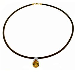 Genuine 6 ctw Citrine Necklace Jewelry 14KT White Gold - REF-30V5W