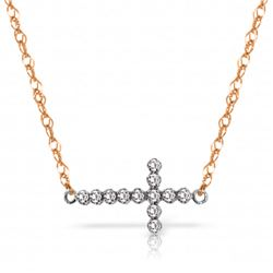 Genuine 0.18 ctw Diamond Anniversary Necklace Jewelry 14KT Rose Gold - REF-46T2A