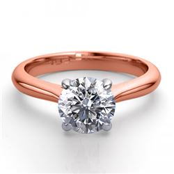 14K Rose Gold 0.91 ctw Natural Diamond Solitaire Ring - REF-243R2M-WJ13242