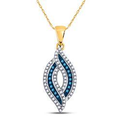 0.30 CTW Blue Color Diamond Oval Pendant 10KT Yellow Gold - REF-19Y4X