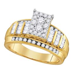 1.95 CTW Diamond Cluster Bridal Engagement Ring 10KT Yellow Gold - REF-142N4F