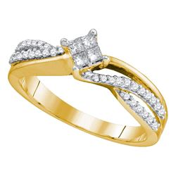 0.30 CTW Princess Diamond Cluster Promise Bridal Ring 14KT Yellow Gold - REF-49F5N