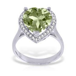 Genuine 3.24 ctw Green Amethyst & Diamond Ring Jewelry 14KT White Gold - REF-66R9P