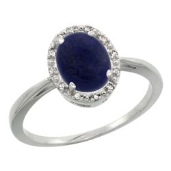 Natural 1.05 ctw Lapis & Diamond Engagement Ring 10K White Gold - REF-19F3N
