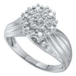 0.20 CTW Diamond Cluster Ring 10KT White Gold - REF-30F2N