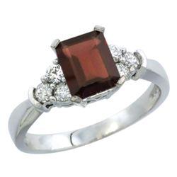 Natural 1.48 ctw garnet & Diamond Engagement Ring 10K White Gold - REF-43N3G