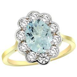 Natural 2 ctw Aquamarine & Diamond Engagement Ring 14K Yellow Gold - REF-88Z3Y