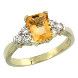 Natural 1.48 ctw citrine & Diamond Engagement Ring 14K Yellow Gold - REF-52G3M