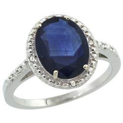 Natural 2.42 ctw Blue-sapphire & Diamond Engagement Ring 14K White Gold - REF-95W3K