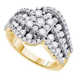 2 CTW Diamond Flower Wide Bridal Engagement Ring 14k Yellow Gold - REF-187N4F