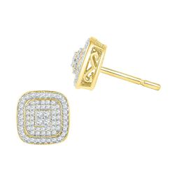 0.60 CTW Diamond Cluster Square Screwback Earrings 10KT Yellow Gold - REF-44M9H