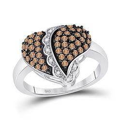 0.59 CTW Cognac-brown Color Diamond Heart Love Ring 10KT White Gold - REF-41W9K