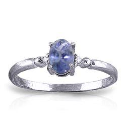 Genuine 0.46 ctw Tanzanite & Diamond Ring Jewelry 14KT White Gold - REF-27N8R