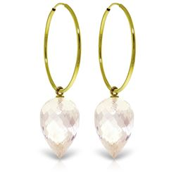 Genuine 24.5 ctw White Topaz Earrings Jewelry 14KT Yellow Gold - REF-50Z6N