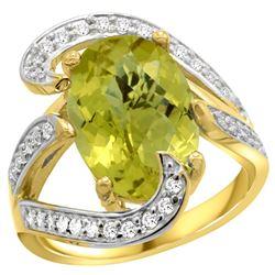 Natural 6.22 ctw lemon-quartz & Diamond Engagement Ring 14K Yellow Gold - REF-129H2W