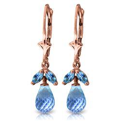 Genuine 3.4 ctw Blue Topaz Earrings Jewelry 14KT Rose Gold - REF-26F6Z