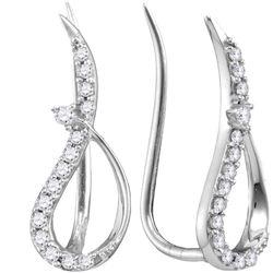 0.18 CTW Diamond Climber Earrings 10KT White Gold - REF-12N8F