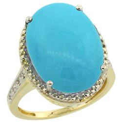 Natural 13.6 ctw Turquoise & Diamond Engagement Ring 14K Yellow Gold - REF-111H2W