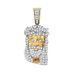 0.35 CTW Mens Diamond Small Jesus Head Charm Pendant 10KT Yellow Gold - REF-18H7M