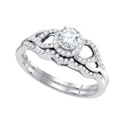 0.38 CTW Diamond Bridal Wedding Engagement Ring 14k White Gold - REF-52K4W