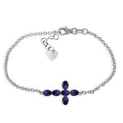 Genuine 1.70 ctw Sapphire Bracelet Jewelry 14KT White Gold - REF-66T2A