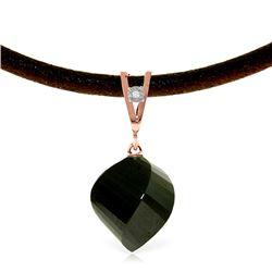 Genuine 15.51 ctw Black Spinel & Diamond Necklace Jewelry 14KT Rose Gold - REF-39H2X