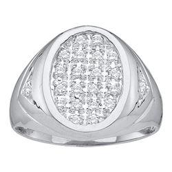 0.25 CTW Mens Diamond Oval Cluster Ring 14KT White Gold - REF-34F4N