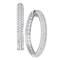 "4.15 CTW Diamond Luxury 1"" Hoop Earrings 10KT White Gold - REF-299F9N"