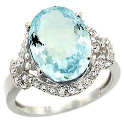 Natural 5.91 ctw aquamarine & Diamond Engagement Ring 14K White Gold - REF-118A2V
