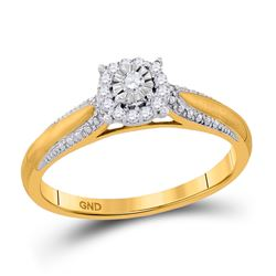 0.10 CTW Diamond Solitaire Bridal Engagement Ring 10KT Yellow Gold - REF-18Y2X