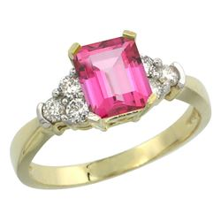 Natural 1.48 ctw pink-topaz & Diamond Engagement Ring 10K Yellow Gold - REF-43A3V
