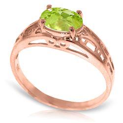 Genuine 1.15 ctw Peridot Ring Jewelry 14KT Rose Gold - REF-32P3H