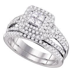 1 CTW Princess Diamond Bridal Engagement Ring 14KT White Gold - REF-127M4H