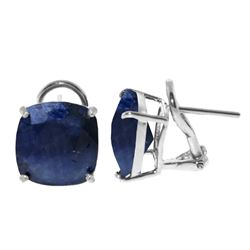 Genuine 9.66 ctw Sapphire Earrings Jewelry 14KT White Gold - REF-86T4A