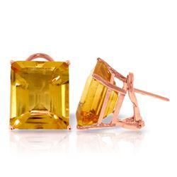 Genuine 13 ctw Citrine Earrings Jewelry 14KT Rose Gold - REF-53A2K
