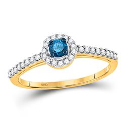 0.42 CTW Blue Color Diamond Solitaire Halo Bridal Ring 10KT Yellow Gold - REF-30K2W