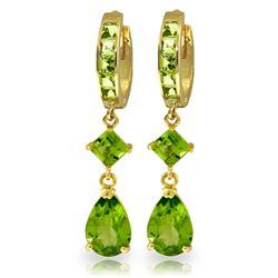 Genuine 5.62 ctw Peridot Earrings Jewelry 14KT Yellow Gold - REF-62R7P