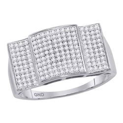 0.50 CTW Mens Pave-set Diamond Rectangle Dome Cluster Ring 10KT White Gold - REF-59X9Y