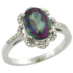 Natural 1.85 ctw Mystic-topaz & Diamond Engagement Ring 10K White Gold - REF-29K3R