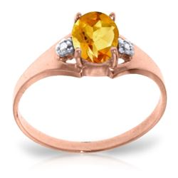 Genuine 0.76 ctw Citrine & Diamond Ring Jewelry 14KT Rose Gold - REF-20R8P