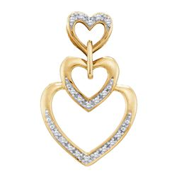 0.06 CTW Diamond Triple Trinity Heart Love Pendant 10KT Yellow Gold - REF-10X5Y