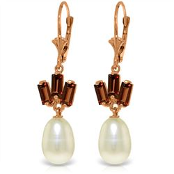 Genuine 9.35 ctw Pearl & Garnet Earrings Jewelry 14KT Rose Gold - REF-26V6W