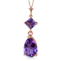 Genuine 2 ctw Amethyst Necklace Jewelry 14KT Rose Gold - REF-24V3W