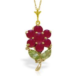Genuine 1.06 ctw Peridot & Ruby Necklace Jewelry 14KT Yellow Gold - REF-28W2Y