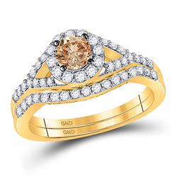 1.05 CTW Cognac-brown Diamond Bridal Wedding Engagement Ring 14KT Yellow Gold - REF-112W5K