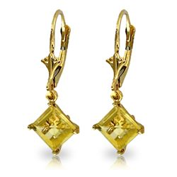 Genuine 3.2 ctw Citrine Earrings Jewelry 14KT Yellow Gold - REF-30N2R