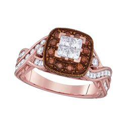 1.37 CTW Princess Diamond Cluster Brown Bridal Engagement Ring 10KT Rose Gold - REF-112F5N