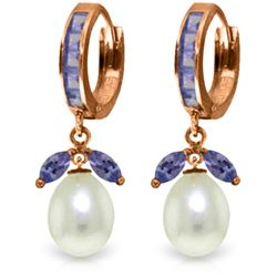 Genuine 10.30 ctw Tanzanite & Pearl Earrings Jewelry 14KT Rose Gold - REF-71Y3F