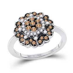 0.65 CTW Cognac-brown Color Diamond Flower Cluster Ring 10KT White Gold - REF-41F9N