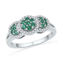 0.43 CTW Created Emerald Diamond Cluster Ring 10KT White Gold - REF-26Y9X